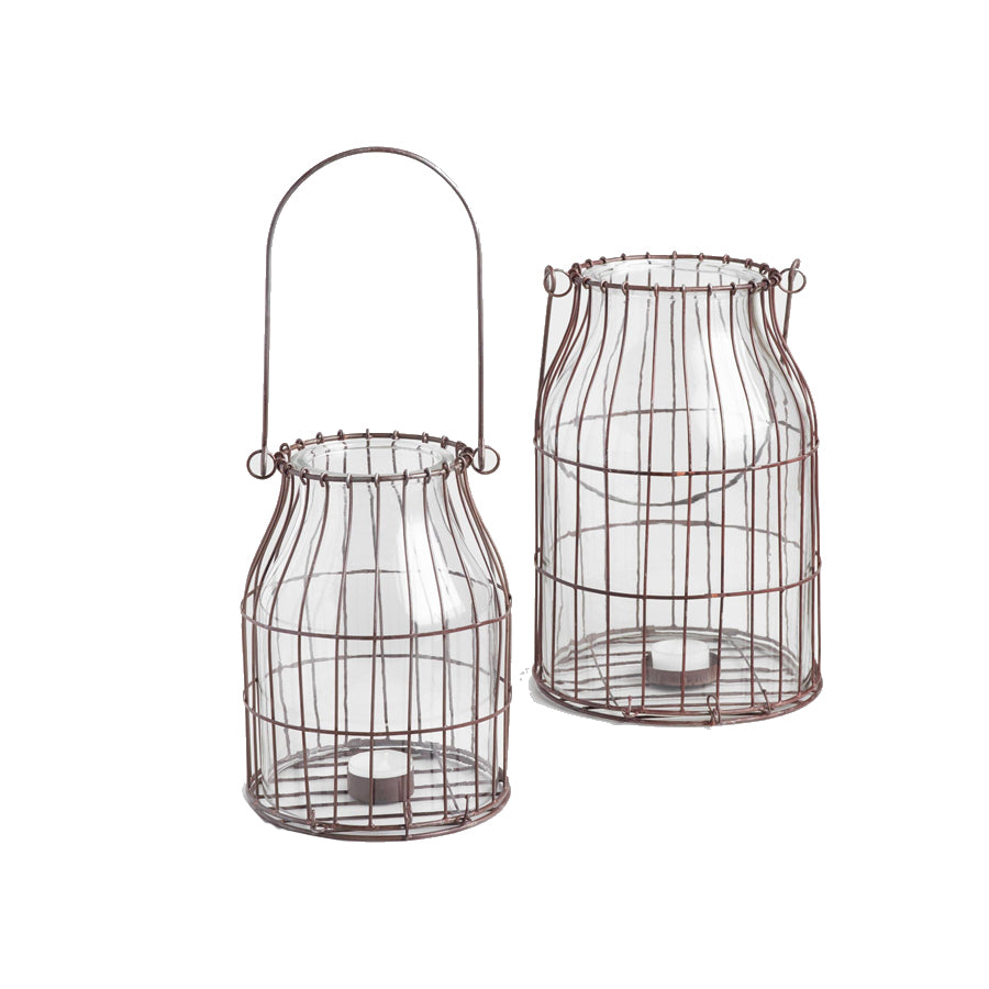 Rustic Wire and Glass Lantern - Alpine Event Co.