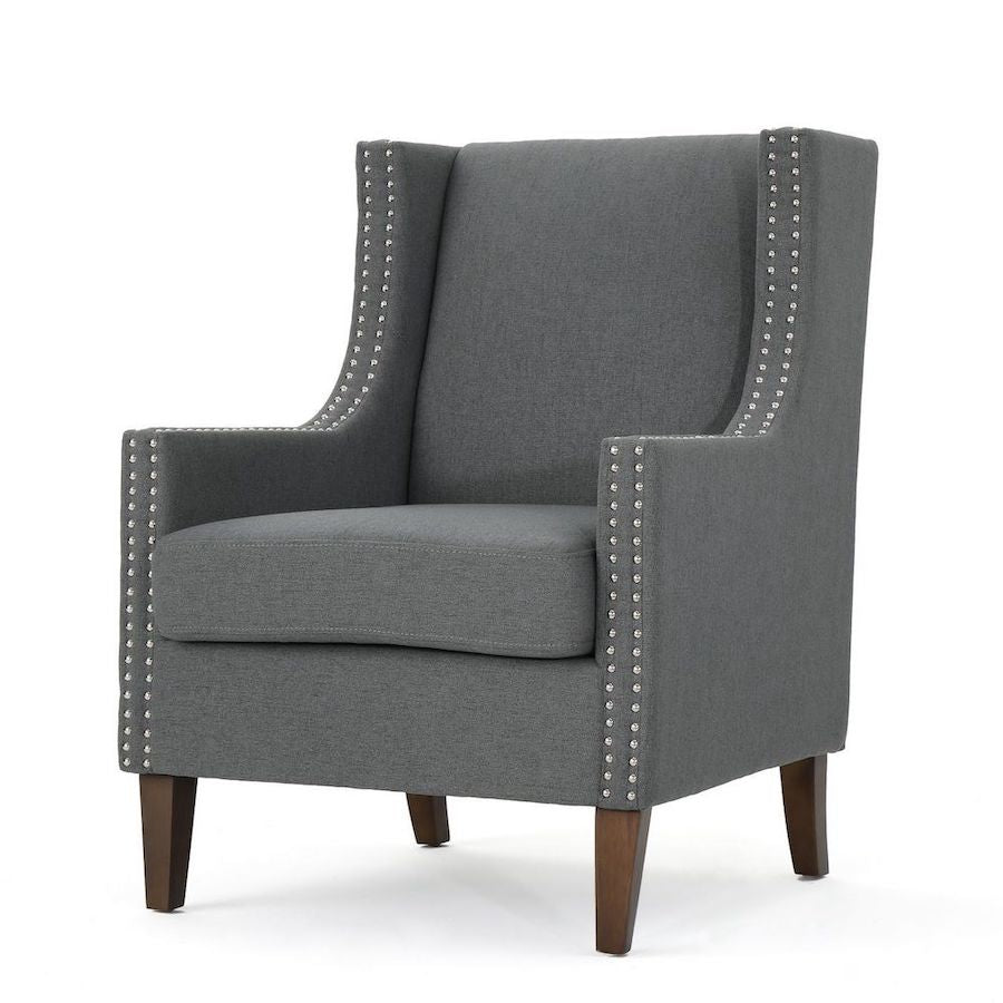 Studded Gray Armchair - Alpine Event Co.