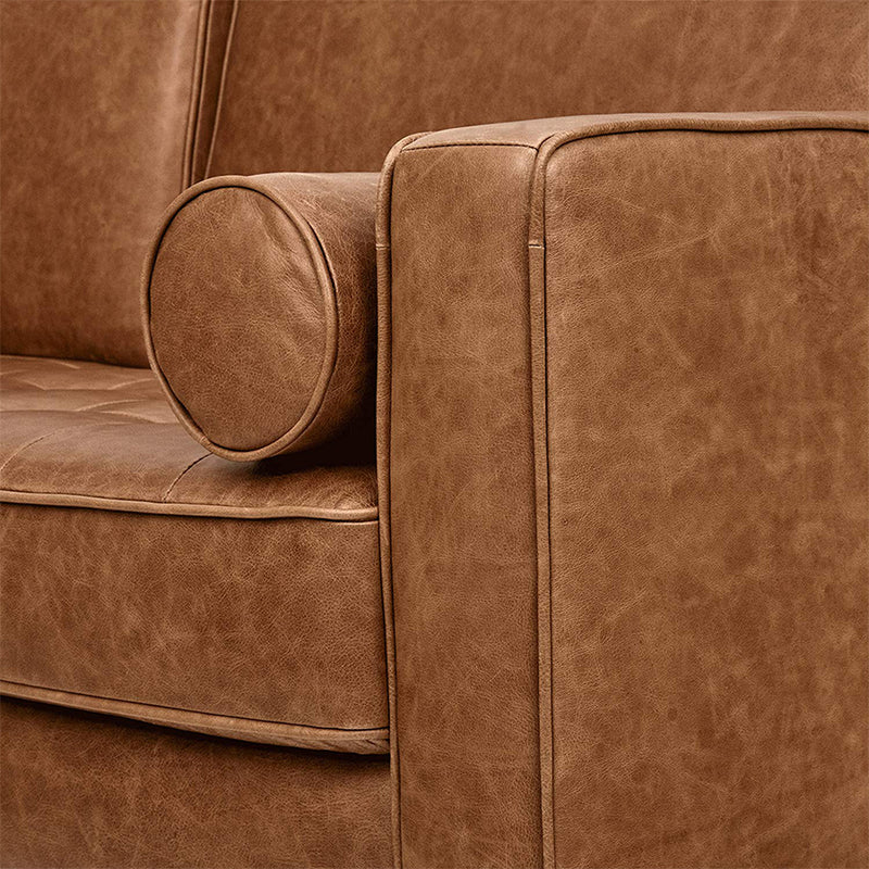 Camel Leather Sofa - Alpine Event Co.