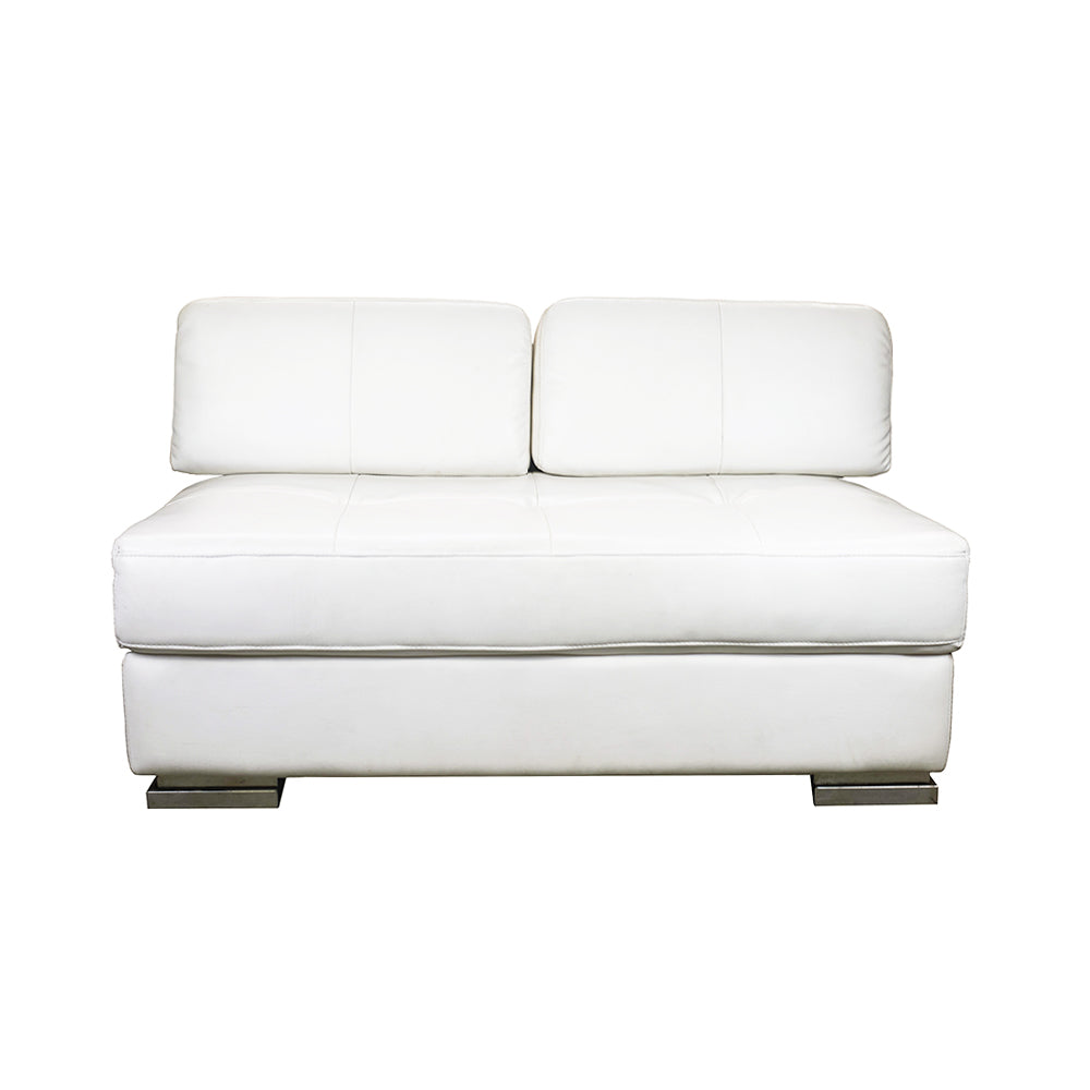 Modern White Leather Loveseat