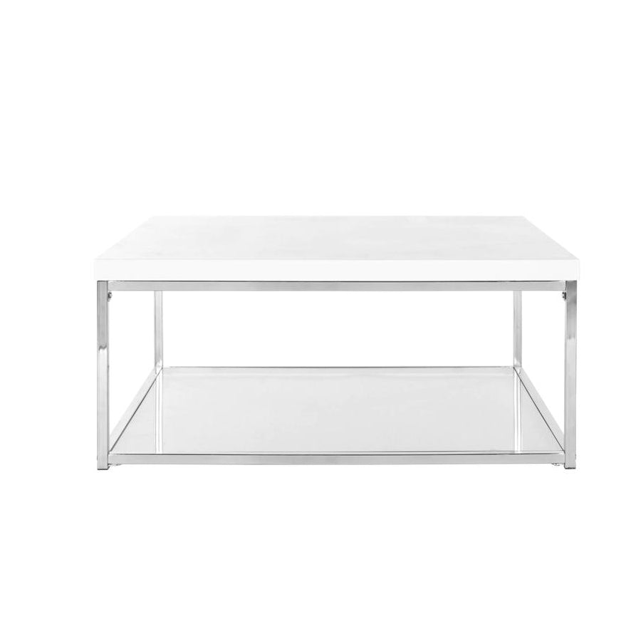White and Chrome Coffee Table - Alpine Event Co.