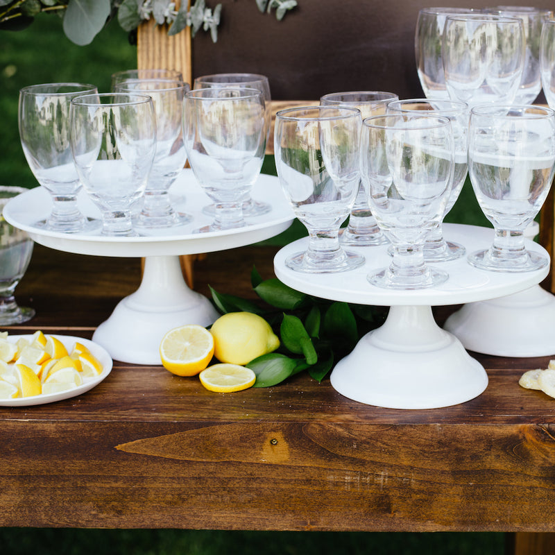White Cake Stand Raised - Short - Alpine Event Co.