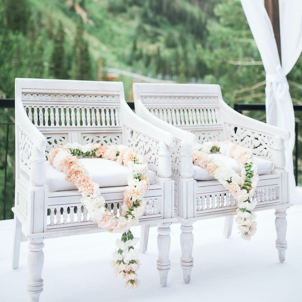 White Carved Wood Chair - Alpine Event Co.