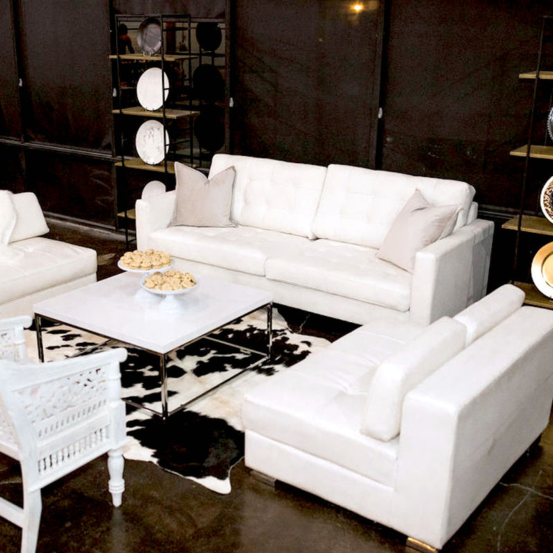 Modern White Leather Sofa - Alpine Event Co.