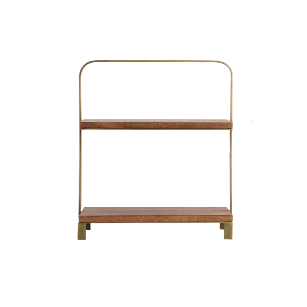 2-Tier Wood + Brass Serving Tray
