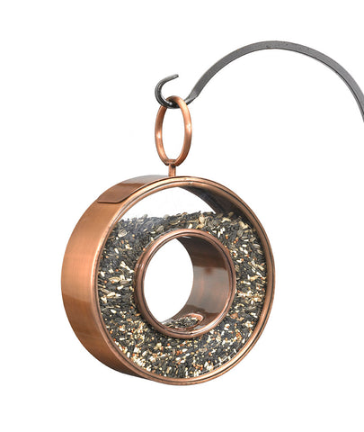 Circle Fly-Through Copper Finish Bird Feeder