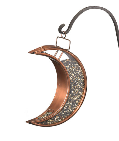 Crescent Moon Copper Finish Bird Feeder