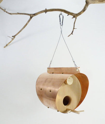Hand Crafted Copper and Cedar Bird Feeder