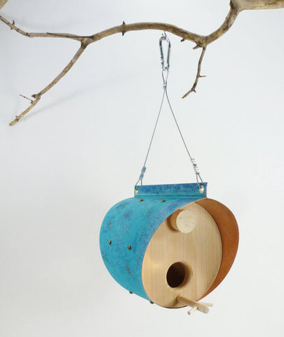 Oxidized Copper and Cedar Bird Feeder
