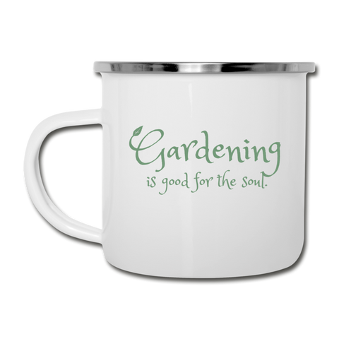 """Gardening is good for the soul"" Garden Mug - white"