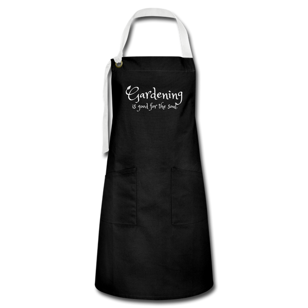 """Gardening is good for the soul"" Apron - black/white"