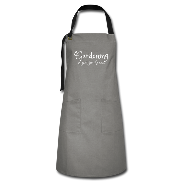 """Gardening is good for the soul"" Apron - gray/black"