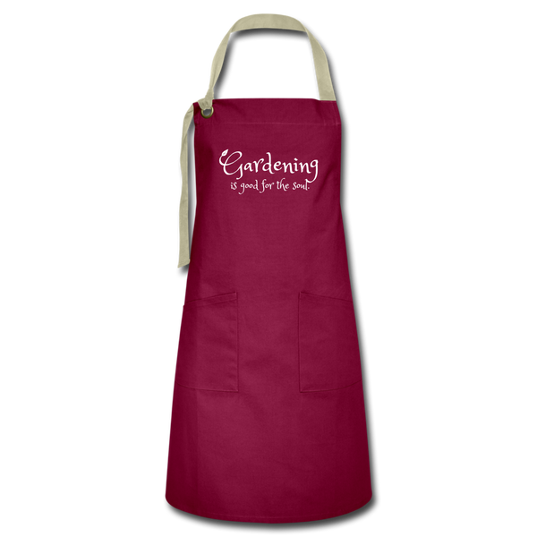 """Gardening is good for the soul"" Apron - burgundy/khaki"