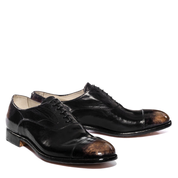 ELIAS 15012, Aged black stone oxford shoes , vista 2