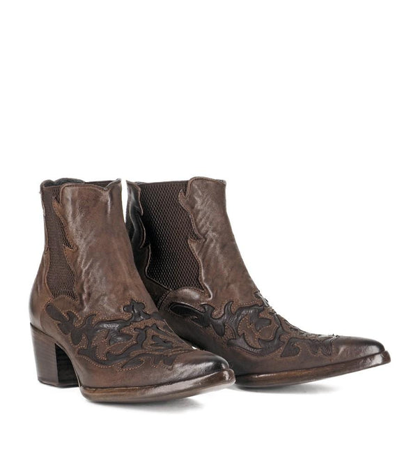URSULA 46036, Brown texan inspired Ankle boots, vista 3