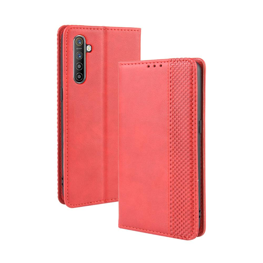 Realme X2 Wallet Leather Cover with Card Slots Protective Flip Stand Case Red