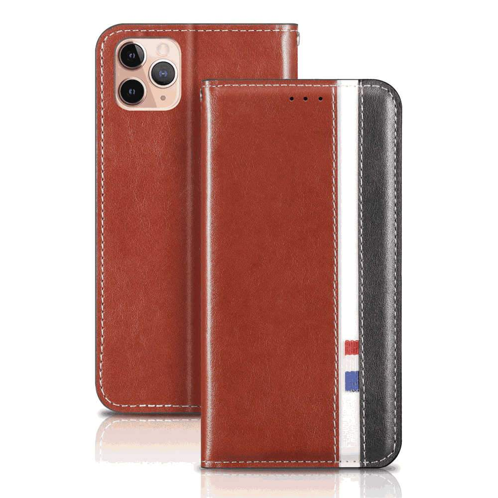 iPhone 11 Pro Wallet Case Handmade Flip Folio Cover with Kickstand Function and Card Slot Ultra Thin Cover Brown