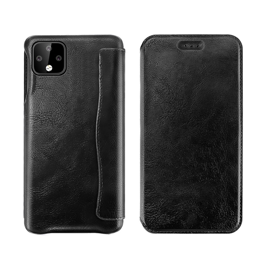 Google Pixel 4 Case Premium PU Leather Case Flip Stand Full Body Protection Phone Cover With Card Slot Black