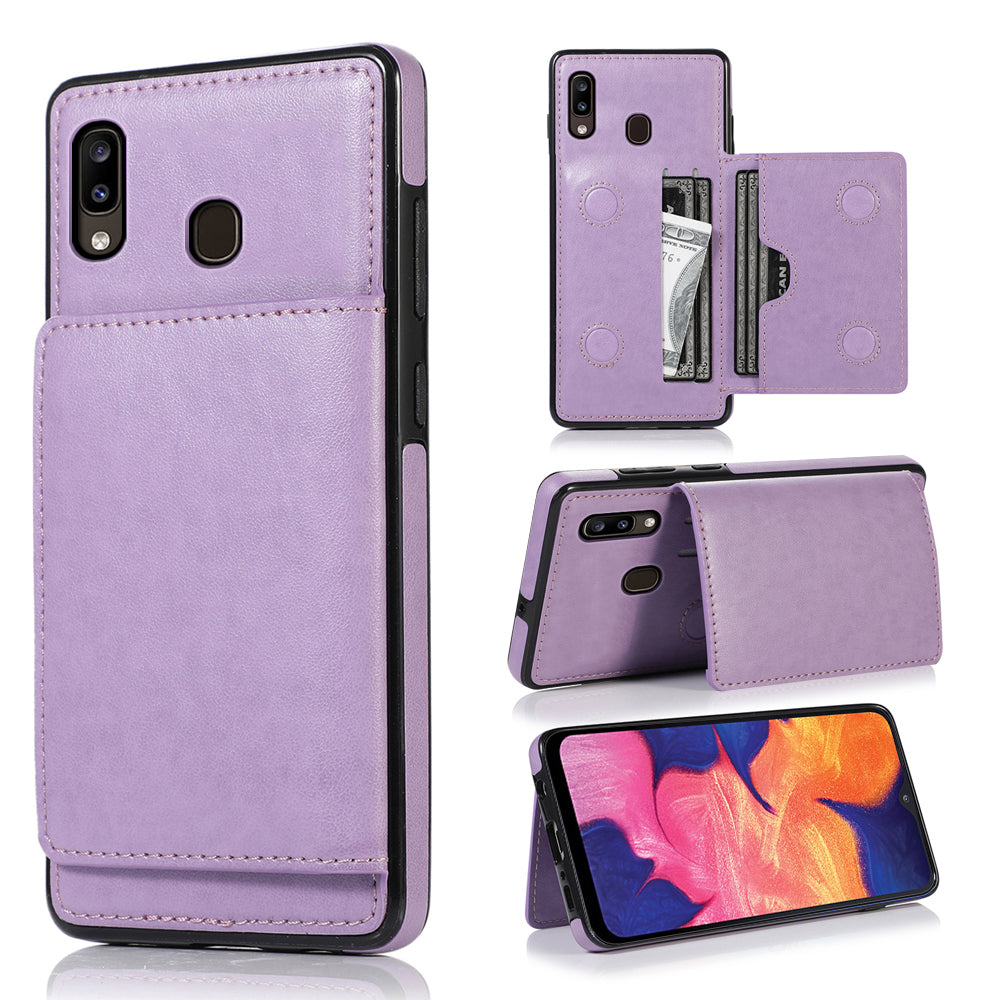 Galaxy A20 Card Holder Case with Multi Card Slots Cash Pocket Stand Leather Case Purple