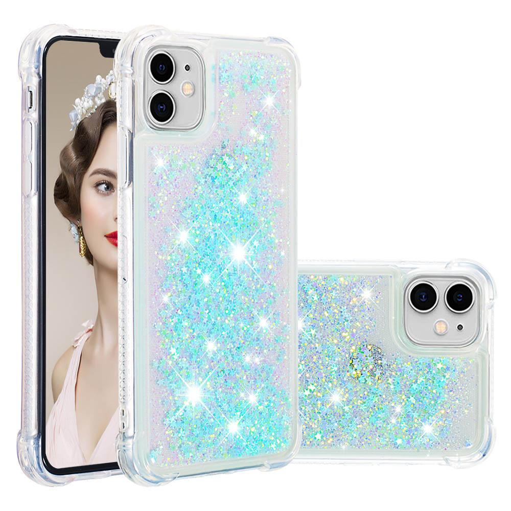 iPhone 11 Case Shiny Stars Sparkle Flowing Floating Ultra Thin Bumper Cover Sky Blue