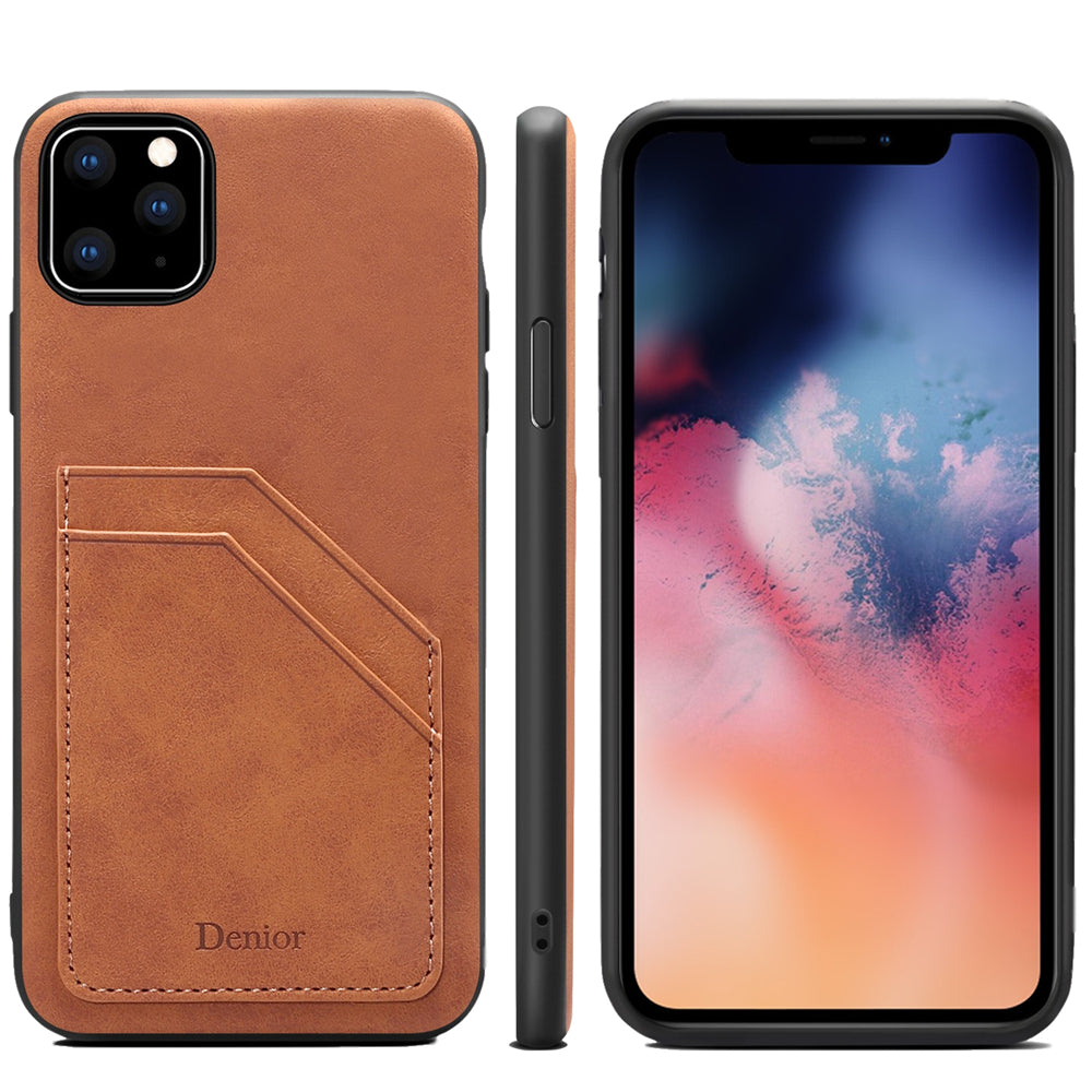 iPhone 11 pro Case Dual Layer Hybrid Cover Shockproof Protective Shell with 2 Card Slots Brown