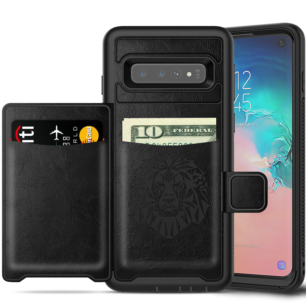 Galaxy S10 Case with Kickstand Rugged Leather Wallet Case with Card Holder Black