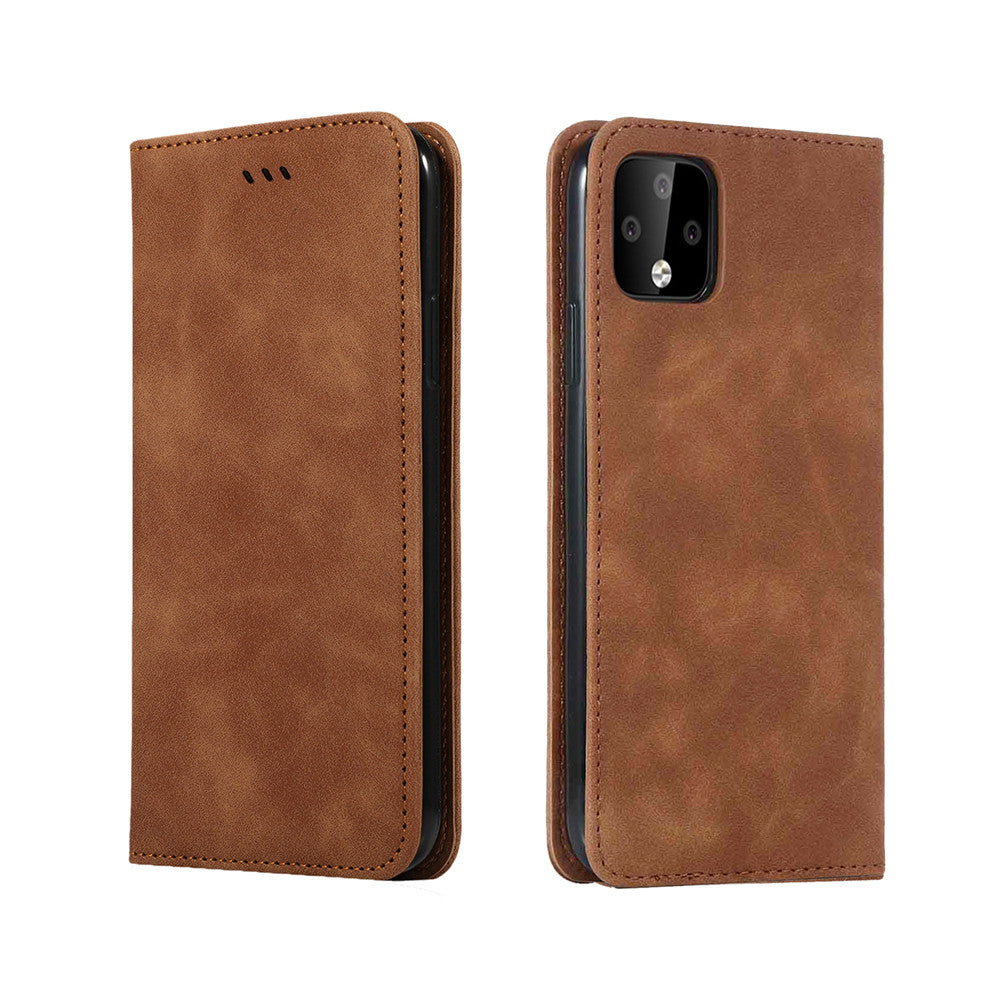 Google Pixel 4 XL Wallet Case Flip Cover Card Case with Kickstand Brown