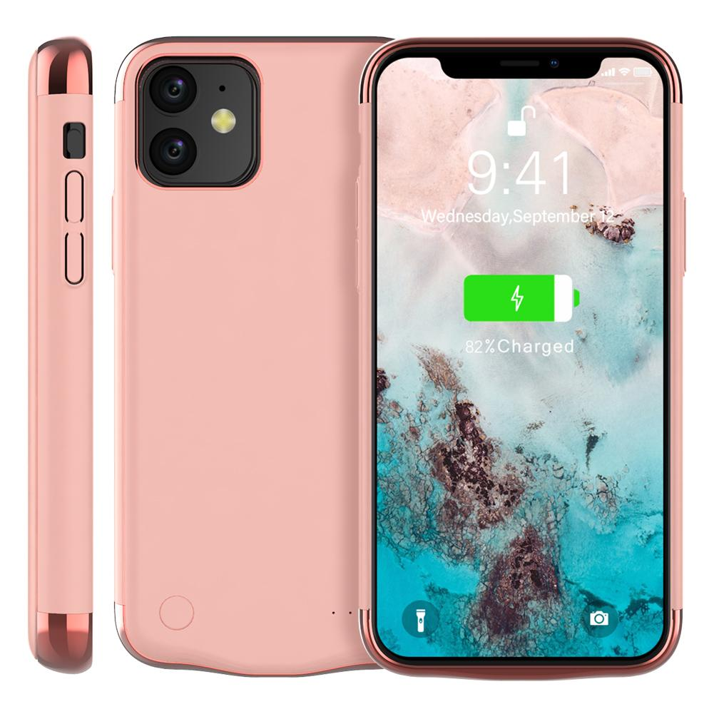 Battery Case for iPhone 11 6000mAh Portable Protective Charger Case Power Bank Rose Gold