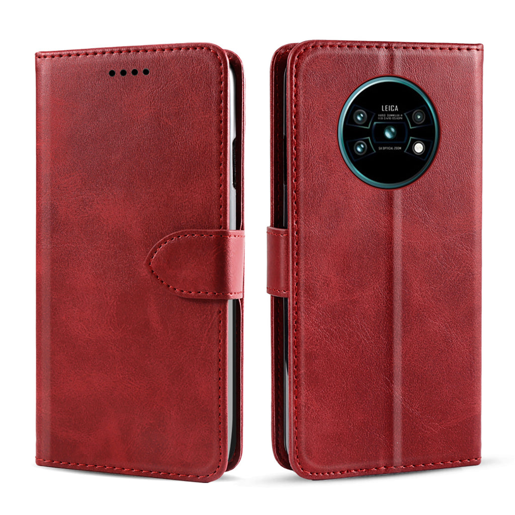 Huawei Mate 30 Wallet Case Leathe Flip Folio Case with Card Slots & Kickstand Red