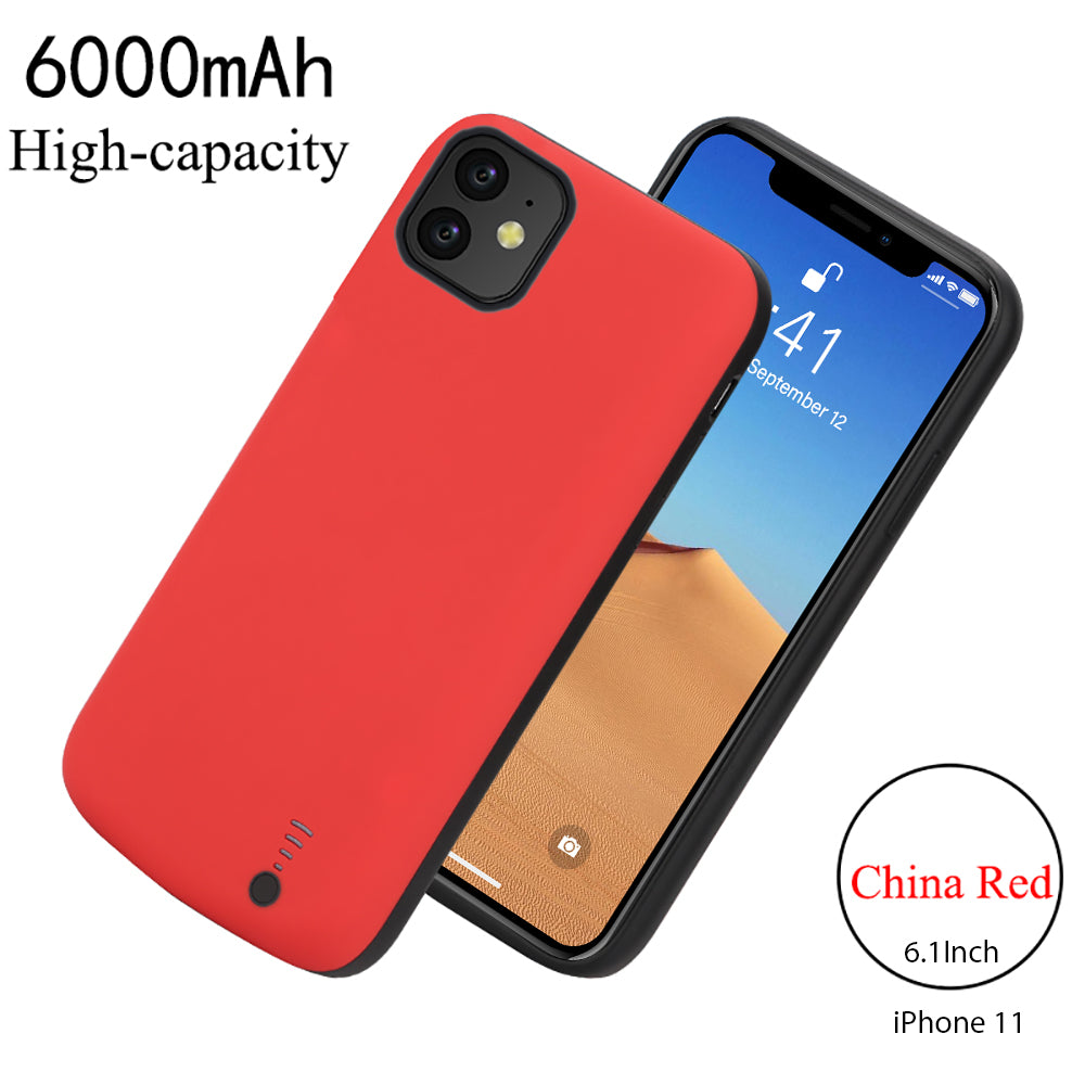 iPhone 11 Battery Case 6000mAh Rechargeable Portable Extended Power Bank Charging Case Red