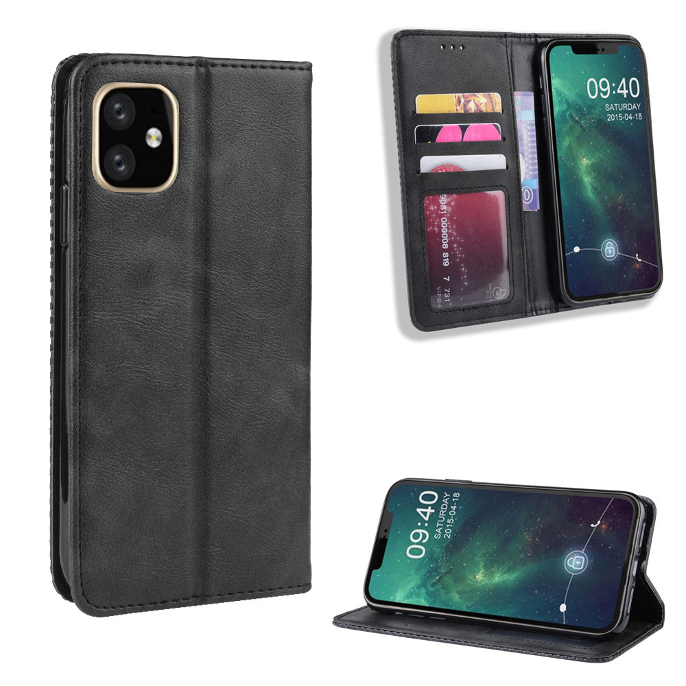 iPhone 11 pro max Wallet Case with 3 Card Holder Magnetic Closure Fliop Leather Case Black