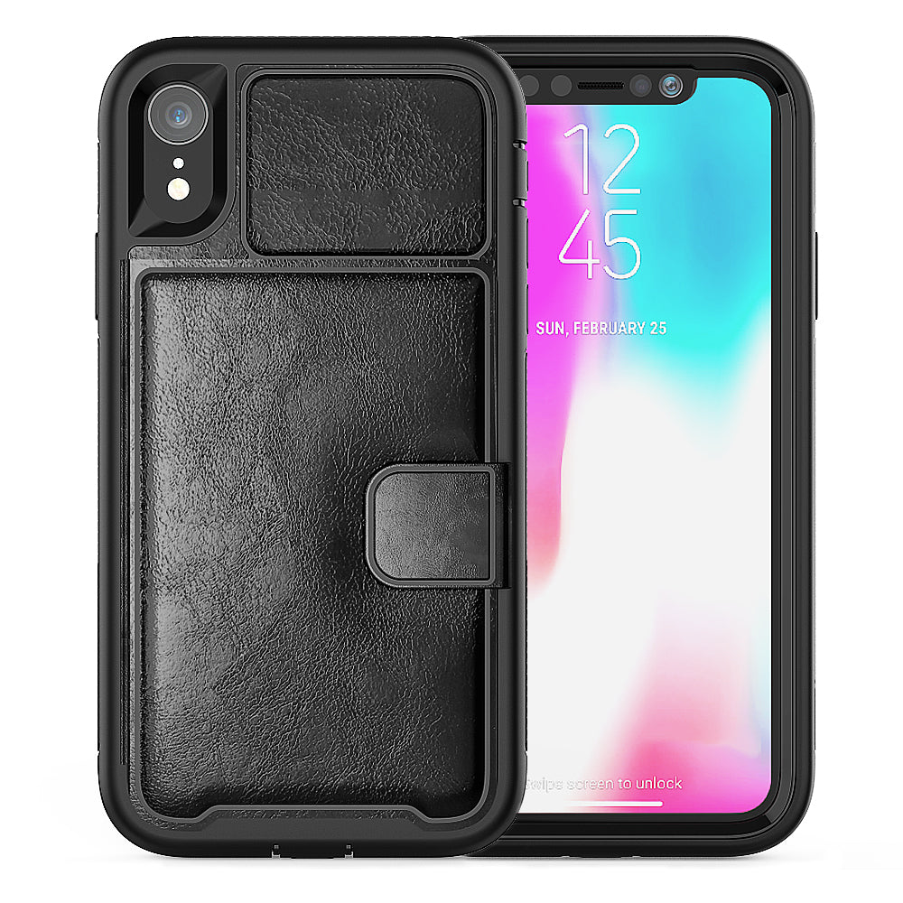 Leather Case for iPhone XR Anti Fall Wallet Card Case with Magnetic Closure Black