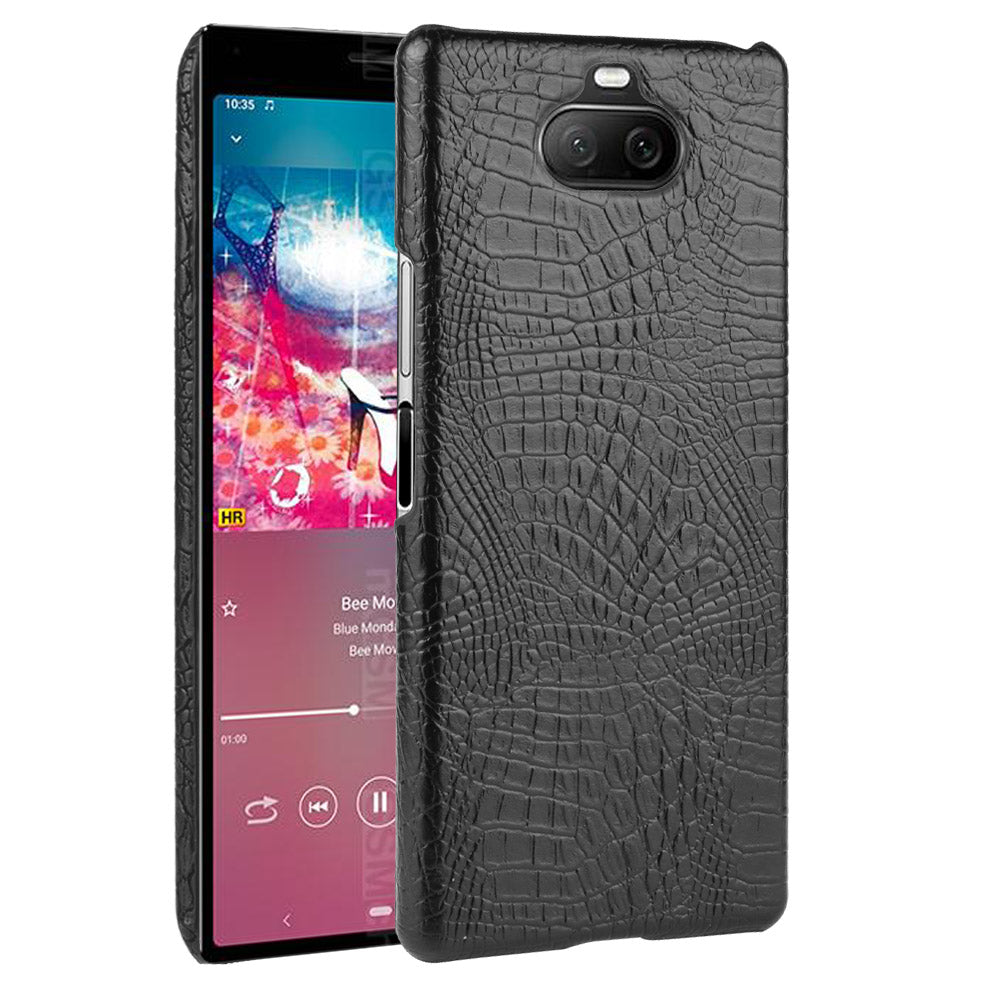 Sony Xperia 8 Case PC Shock Proof Protective Rugged Case Crocodile Pattern Back Cover Black