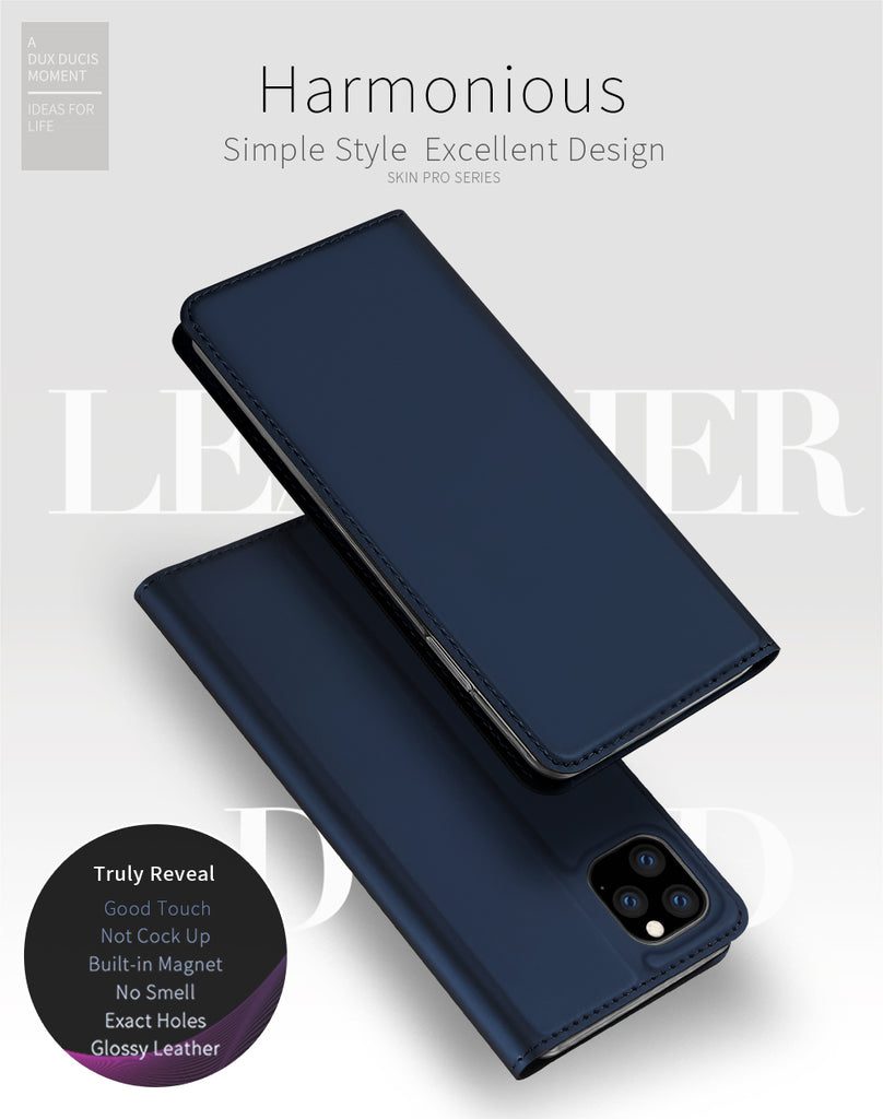 iPhone 11 pro max Wallet Case Slim Folio Book Cover with Card Sot Black