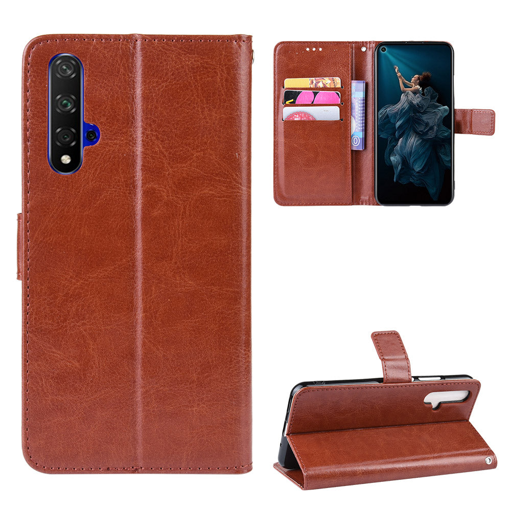 Huawei Honor 20 Case Flip Case Wallet Stand Cover with Card Slots Brown