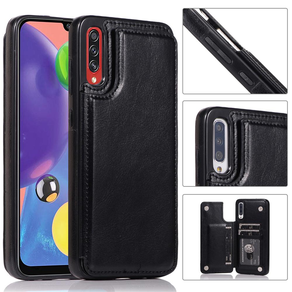 Samsung Galaxy A70s Case with Card Holder Full Round Protective Leather Walet Case Black
