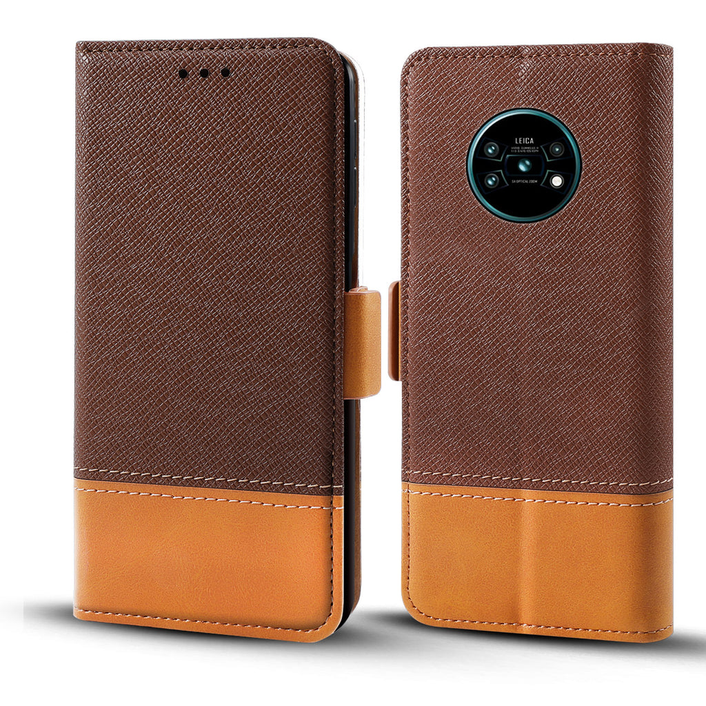 Huawei Mate 30 Pro Wallet Case Magnetic Cover Leather Folio Wallet Brown