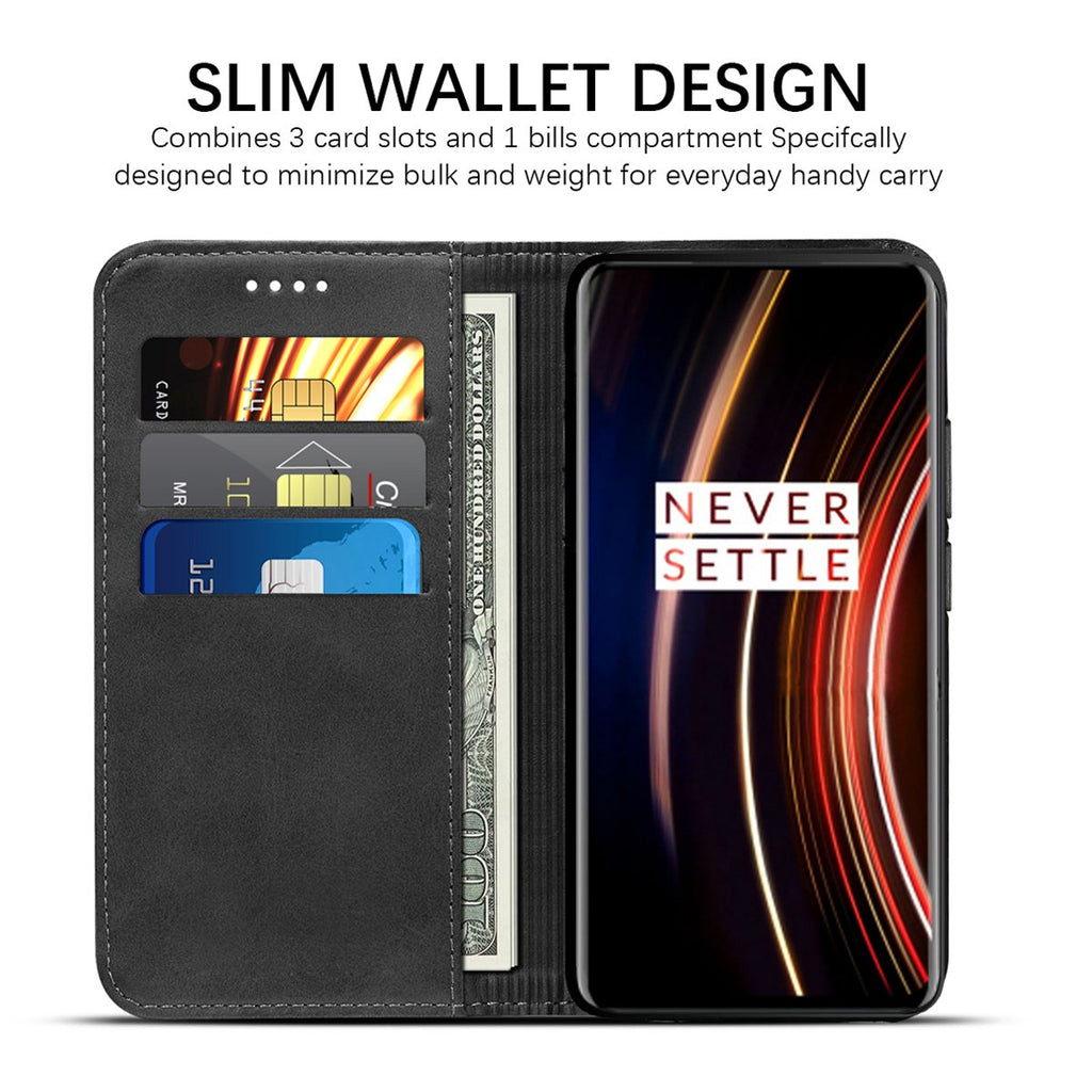 Case for OnePlus 7T Pro Premium Leather Flip Wallet Phone Case with 3 Card Slots Black