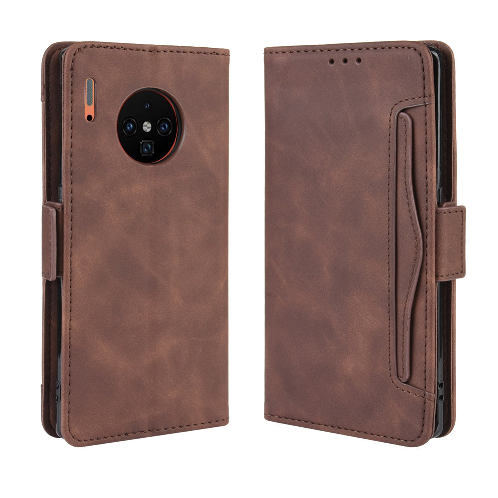 Huawei Mate 30 Pro Wallet Case Leather Flip Case with Multiple Card Holder Slots Brown