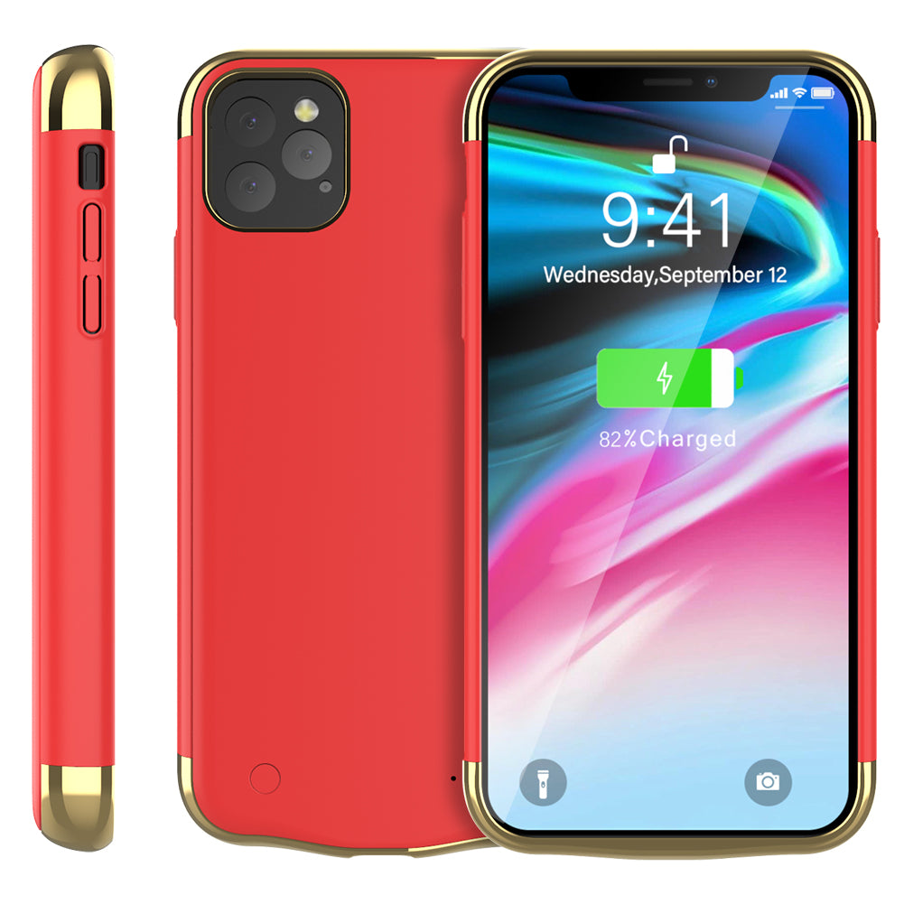 Battery Case for iPhone 11 pro 5500mAh Slim Protective Extended Charger Case Rose Red