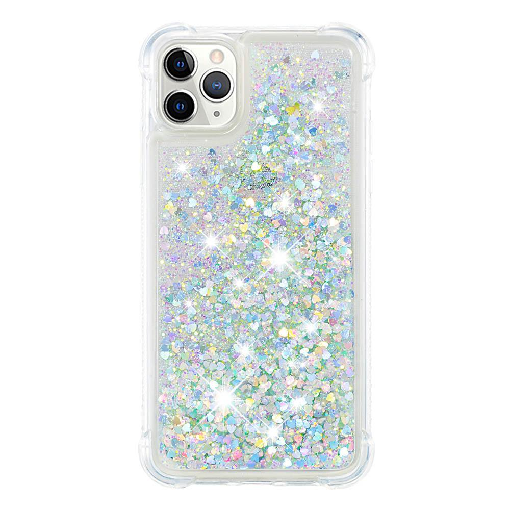Liquid Glitter Case for iPhone 11 Pro Max Colorful Bling Quicksand Love Heart Case Silver