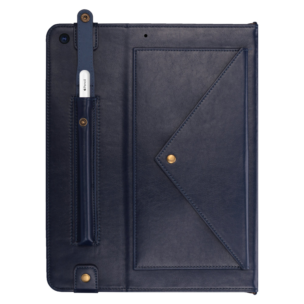 Leather Case for iPad 10.2 Inch 2019 with Pen Holder Aiguillette and Hand Strap Blue