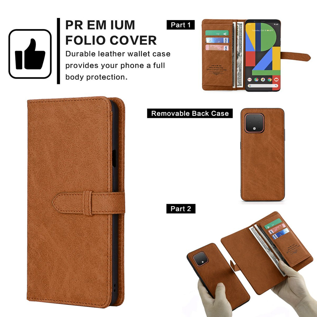 Pixel 4 Wallet Case Folio Flip Leather Cover Detachable Magnetic Shockproof Shell Brown