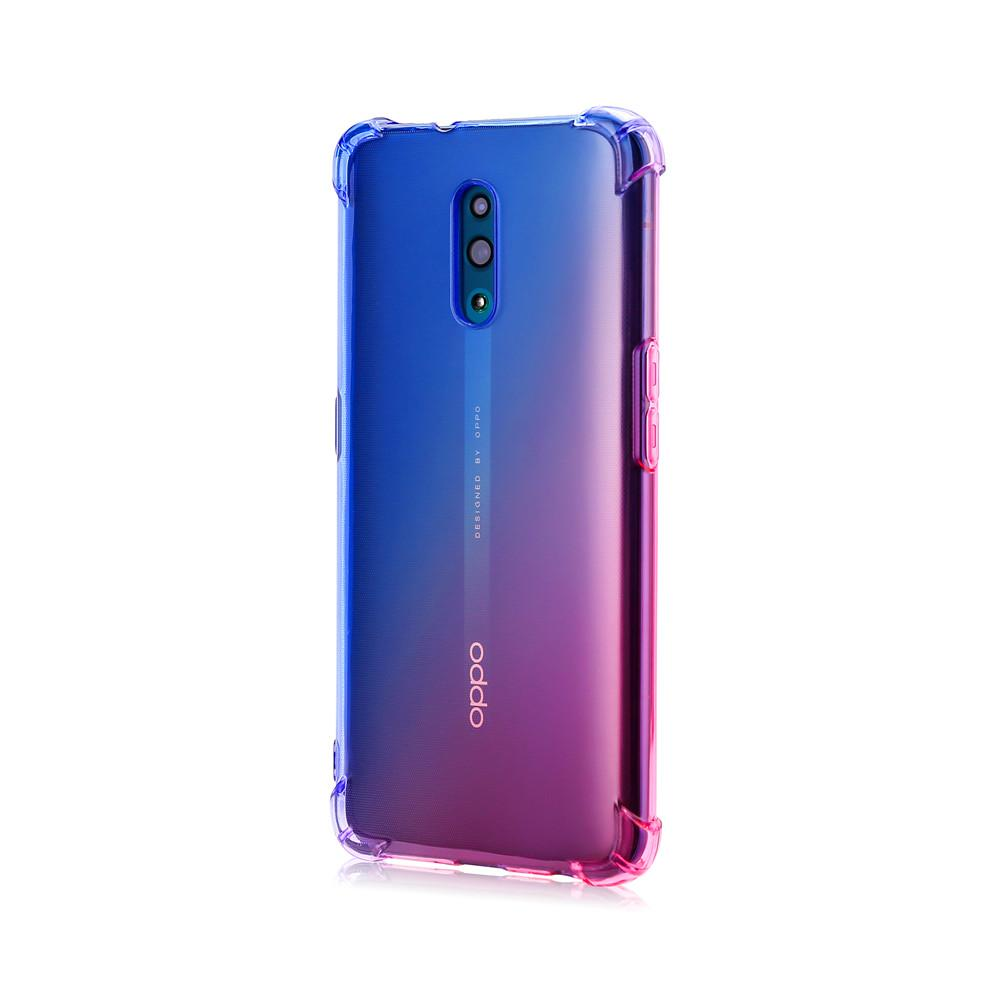 Oppo Reno Case Clear Anti-Scratch Shock Absorption Cover Case Blue-pink