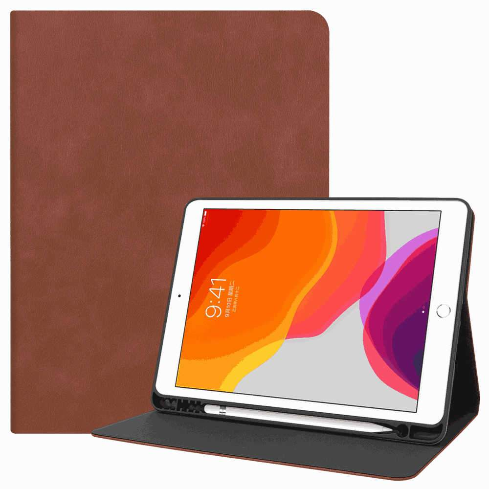iPad 10.2 Inch Leather Case for 2019 New iPad Cover with Pencil Holder Auto Wake/Sleep Brown