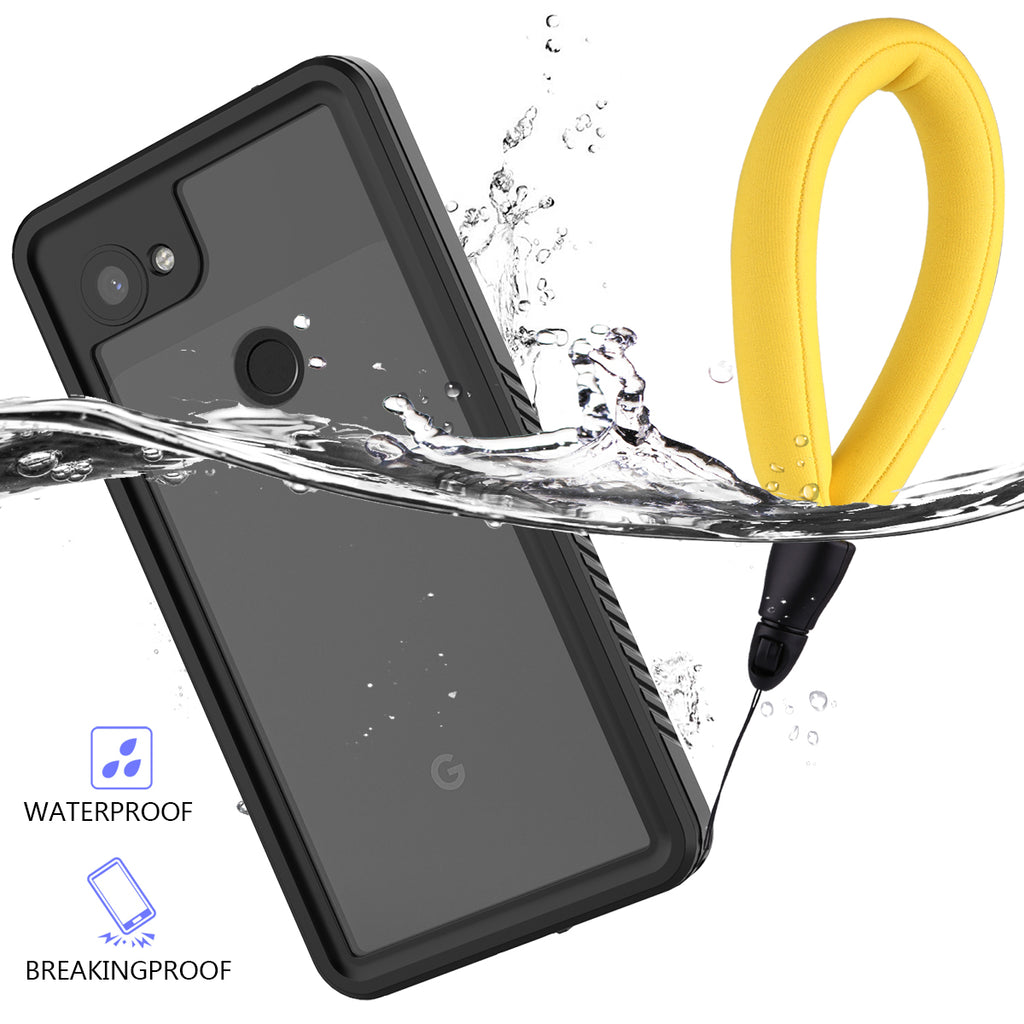Google Pixel 3a XL Waterproof Case Built in Screen Protector IP68 Underwater Case with Floating Strap Black