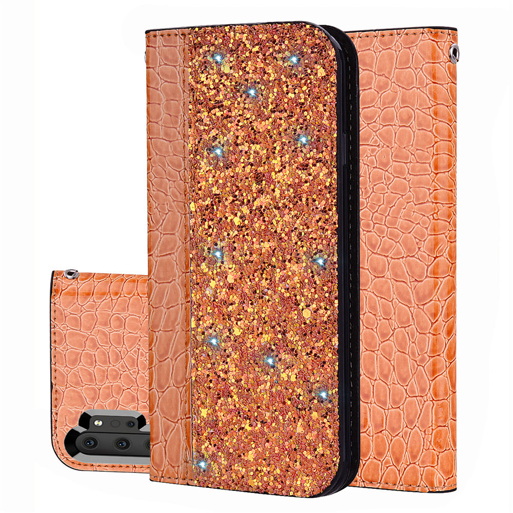 Phone Wallet Card Case for Galaxy Note 10 plus Shining Phone Case with Card Slot Orange