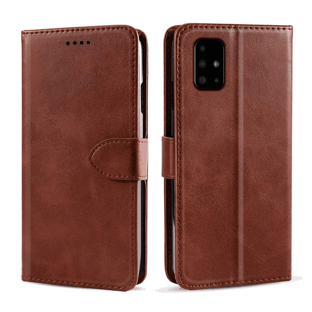Leather Case for Samsung A51 Calf Grain Wallet Folding Flip Case with Kickstand Card Holder Brown