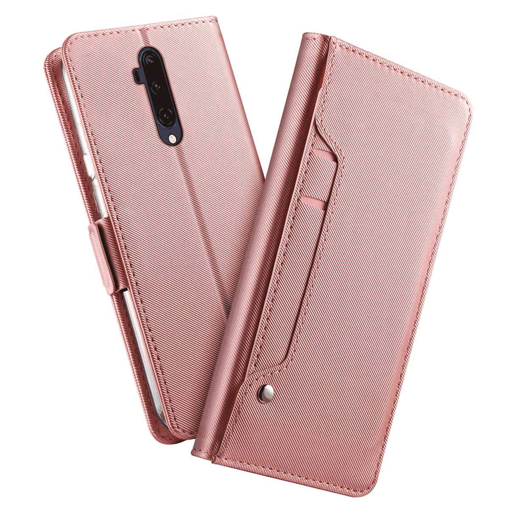 Oneplus 7T Pro Leather Case with Stand Card Holder Magnetic Closure Folio Cover Rose Gold