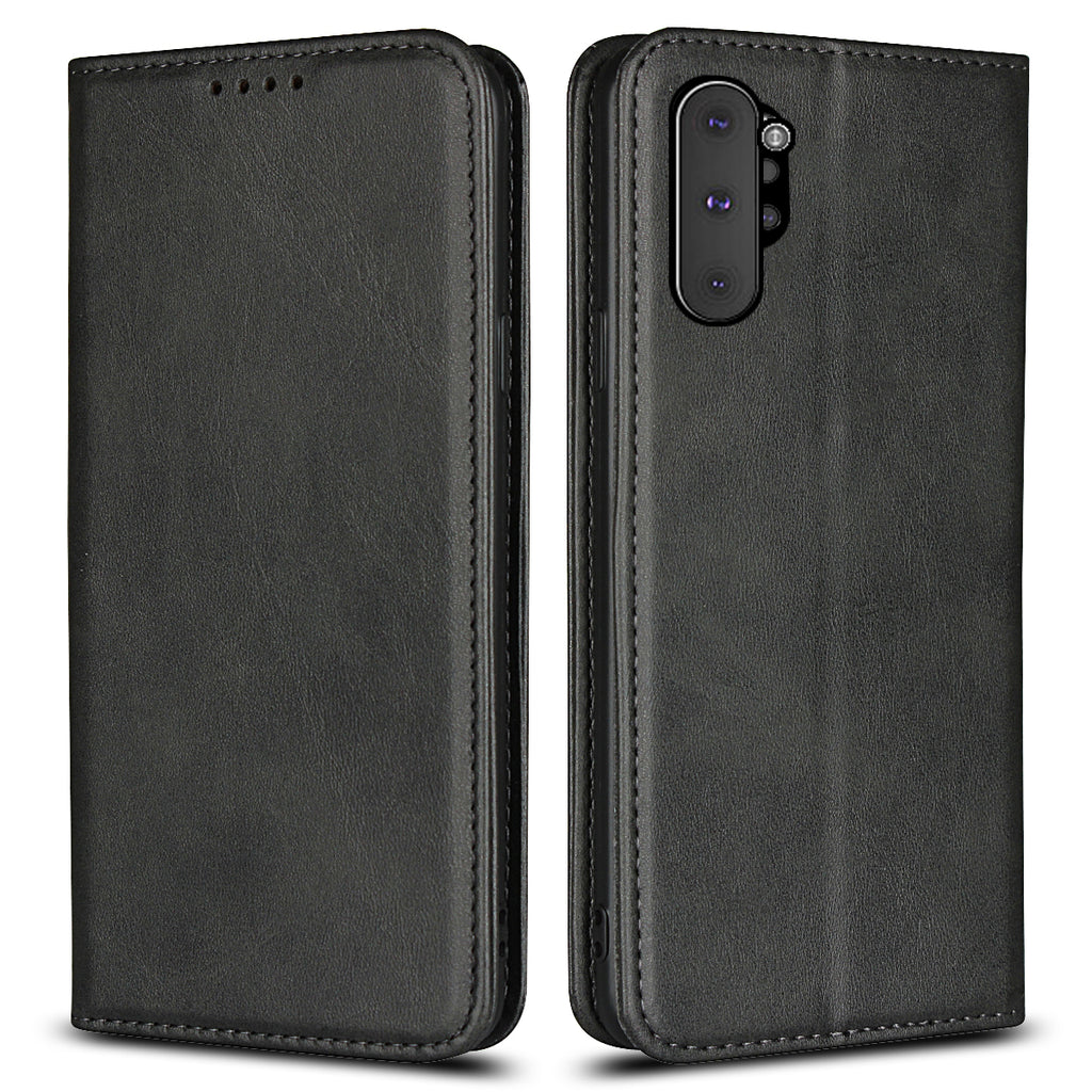 Galaxy Note 10 Plus Wallet Case with Card Holder Magnetic Closure Leather Card Case Black